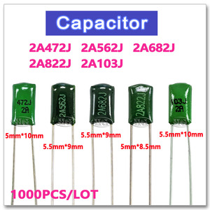 Image 1 - 1000PCS Polyester Film 100V 2A472J 2A562J 2A682J 2A822J 2A103J 5% 4.7NF 5.6NF 6.8NF 8.2NF 10NF NPO high voltage metal capacitor