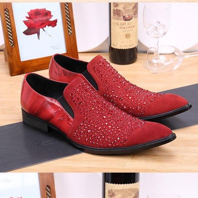 Choudory Red Black Beading Men Shoes Genuine Leather Loafer Velvet Slippers  Rhinestone Pointed Toe Dress Wedding Shoes ed53f10f191e