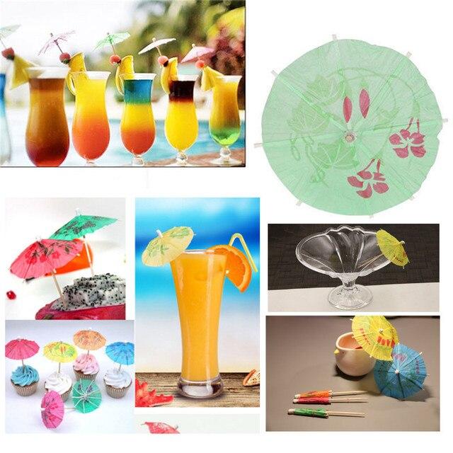 eeb8c61f19e8 50 pcs pack Boisson Fruits Gâteau Bâtons Mini Parapluie Cocktail Papier  Parasols Parapluies De Mariage
