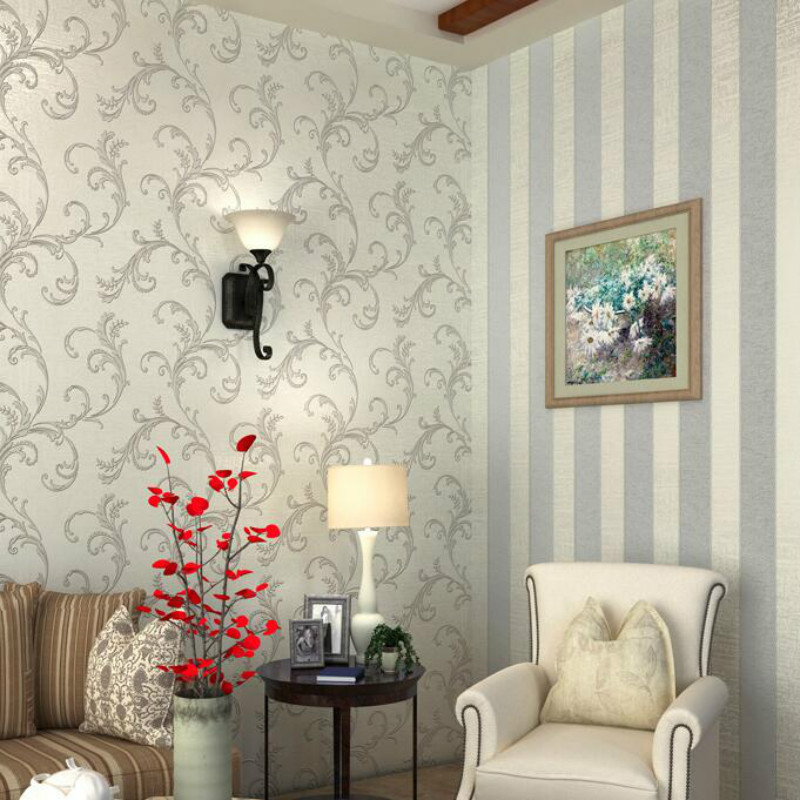 White Floral Damask Wallpaper Stripes Decorative Wall Covering Bedroom Living Room Wall Paper Roll
