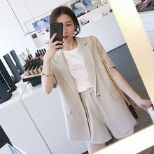 High quality fashion solid color short-sleeved suit female Casual office professional blazer Shorts womens
