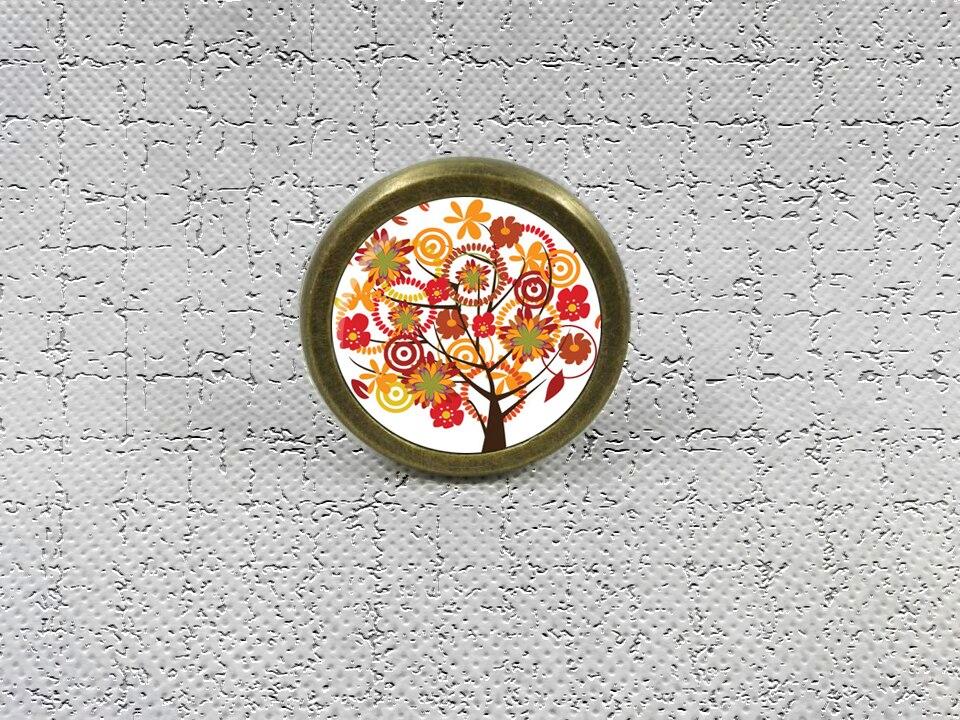 Autumn Tree Drawer Knobs Vintage Style DIY Knobs Copper Sliver Bronze Modern Funiture Door Cabinet Handles Hardware css clear crystal glass cabinet drawer door knobs handles 30mm
