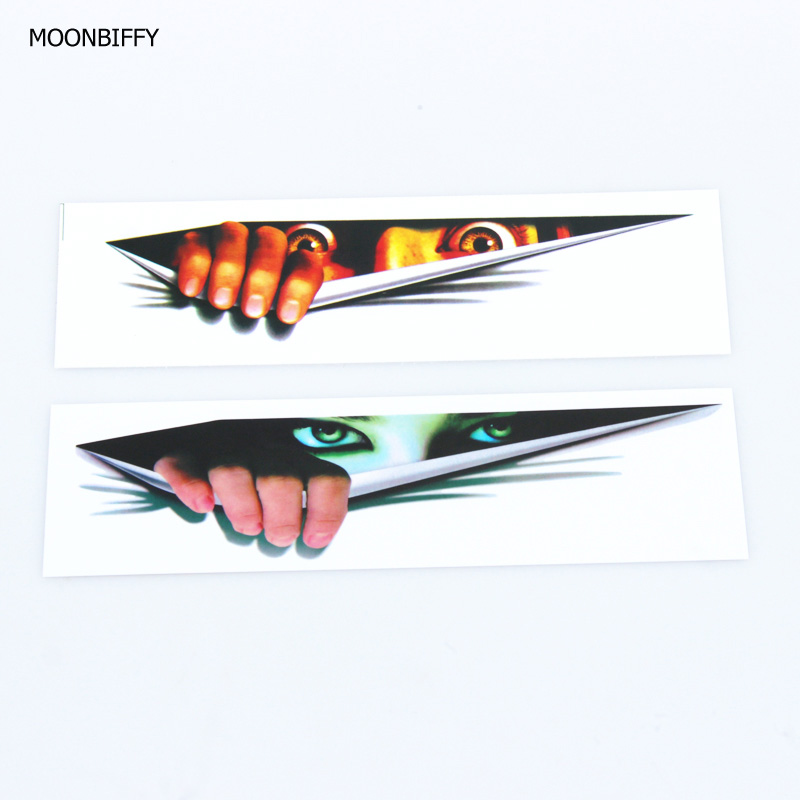 MOONBIFFY New Funny Car Sticker 3D Eyes Peeking Monster Voyeur Car Hoods Trunk Thriller Rear Window Decal hot selling
