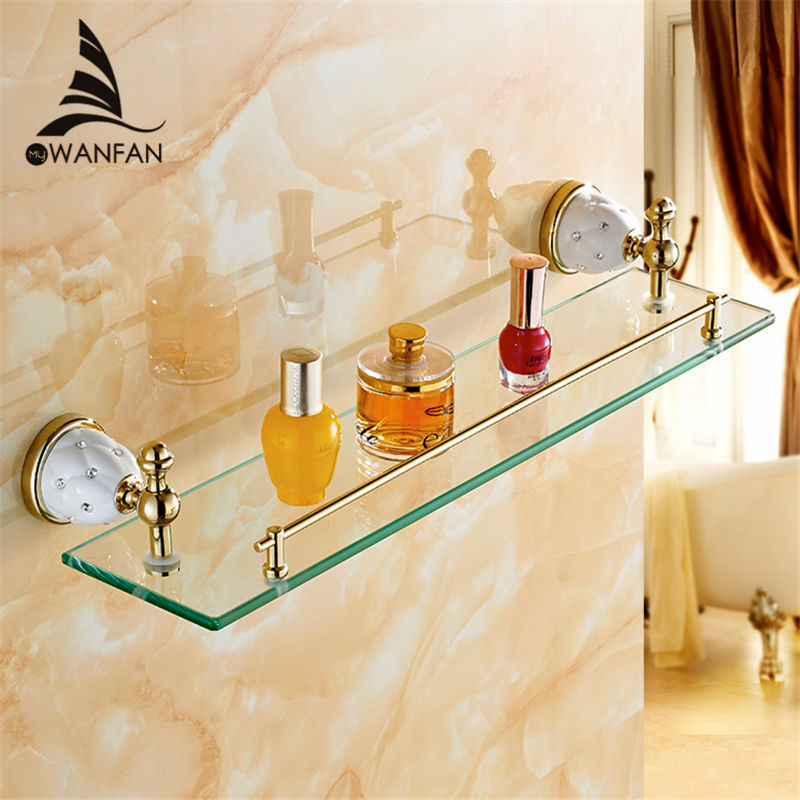 Bathroom Shelves Solid Brass Golden Shower Wall Holder Shampoo Storage Rack Bath Accessories Single Tempered Glass Shelf 5213 batroom golden crystal double cup holder bathroom double cup rack holder hardware bath sets bathroom accessories