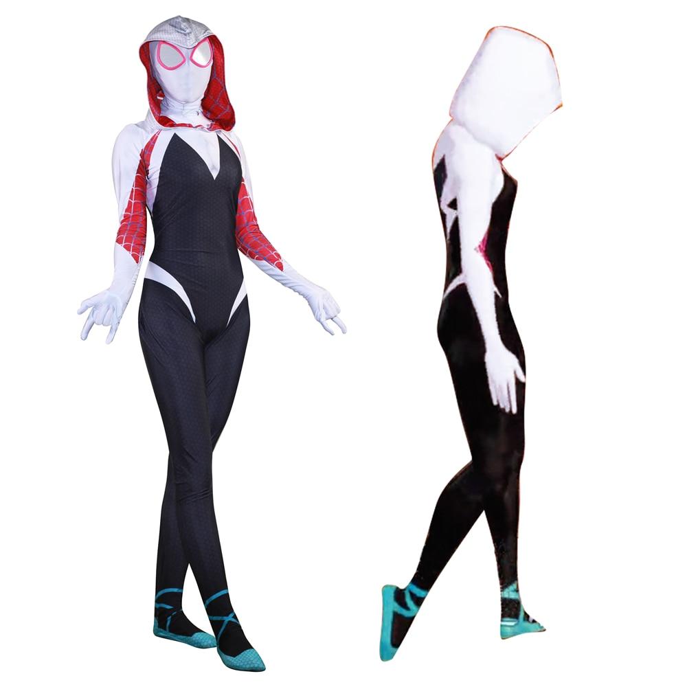 Neue 3D Frauen Gwen Stacy Spider man Cosplay Kostüm Spiderman Zentai Superhero Body Anzug Overalls-in Film- & TV-Kostüme aus Neuheiten und Spezialanwendung bei AliExpress - 11.11_Doppel-11Tag der Singles 1