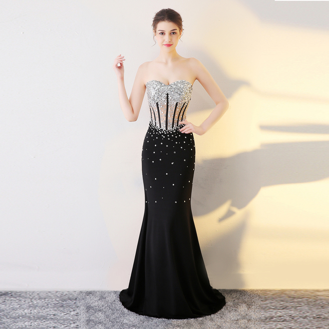 88d7d2d0e87 Black Long Strapless Dresses Rhinestone Vestido Sheer Back Sexy Prom Dresses  Mermaid Sequin Evening Gowns Red Banquet DressGF349