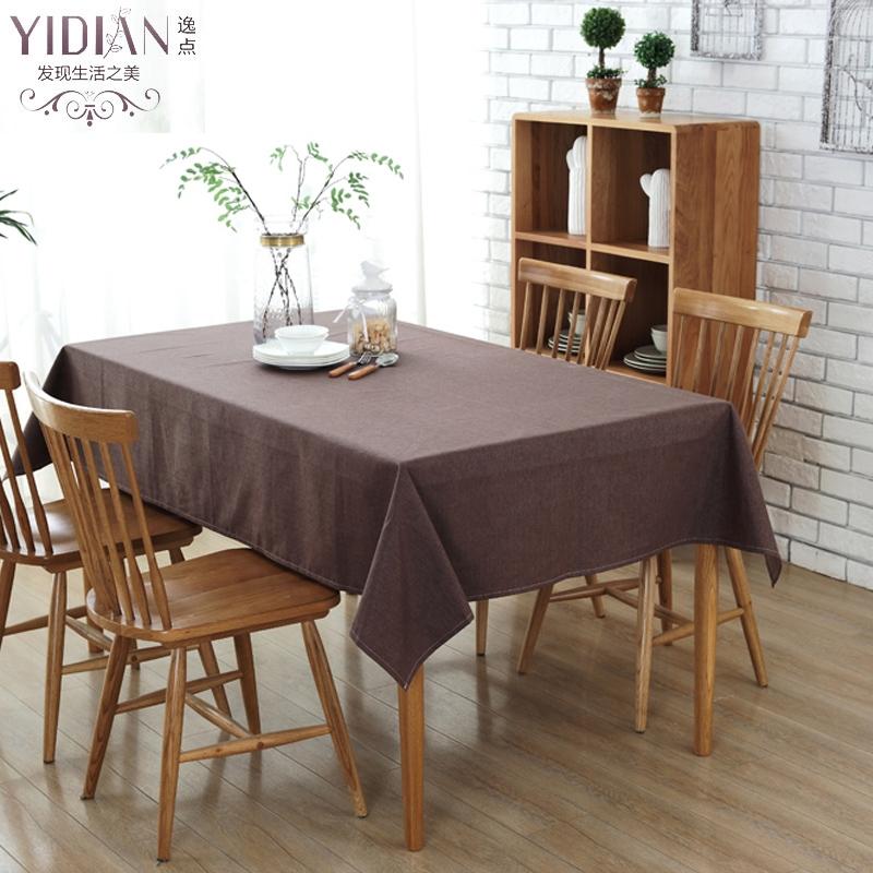 estilo simple mesa cuadrada de tela de lino mantel moderno slido marrn impermeable manteles para bodas