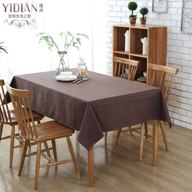 Simple Style Tablecloth Modern Solid Linen Square Table Cloth Brown  Waterproof Tablecloths For Wedding Decoration Tafelkleed