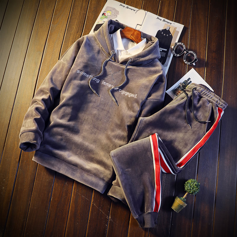 Men's Sportswear Sets Thick Fleece Warm Hoodies + Pants Oversized M-5XL Male Sporting Suits Winter Gold Velvet Tracksuit