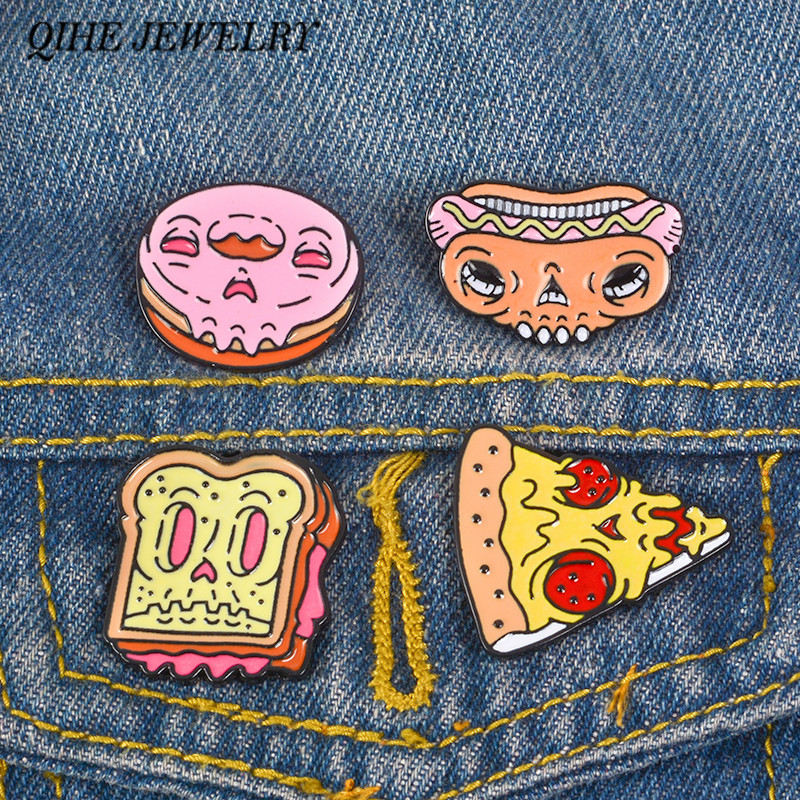 Zombie Gesicht Fast-food Skeleton Pins Donut Donut Hot Dog Pizza Donut Toast Und Schädel Broschen Lustige Abzeichen Revers Pins Backpins Broschen