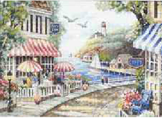Newest 14ct Counted Cross Stitch kits, Cafe By The Sea Landscape European Needlework Set for Embroidery Wall Decoration 46*36 cm