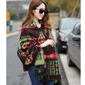 Women's Batwing Bohemian Collar Plaid Cape Cloak Poncho Fringe Ethnic Geometric Knit Top Cardigan Sweater Coat Scarf Shawl 19