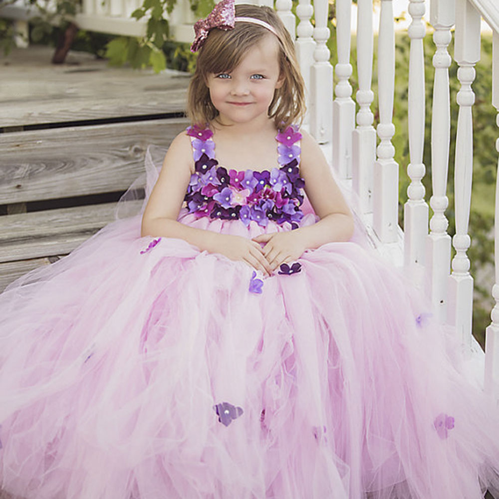 Aliexpress Buy Pink Princess Baby Dress Light Purple Flower
