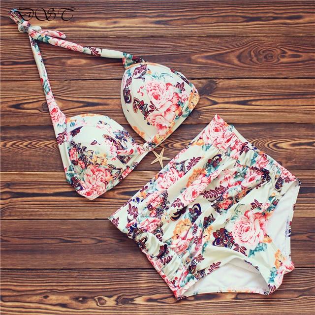 DAESPHETEL Sexy Floral Print Push Up Swimwear Ruffle Bikini Set Brazilian High Waist