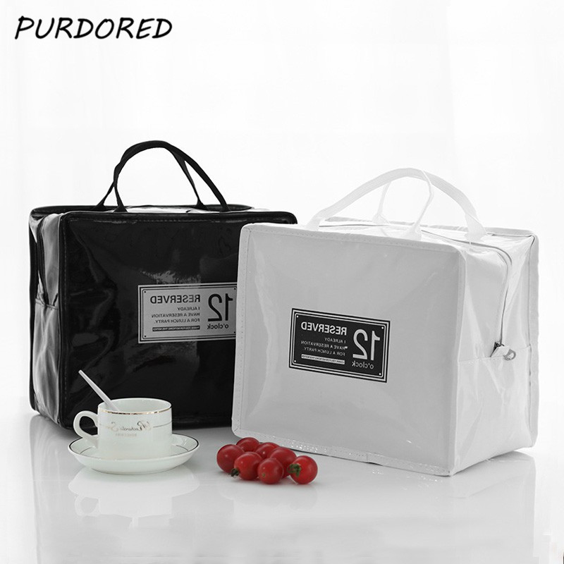 PURDORED 1 Pc Portable PU Lunch Bags Leather Waterproof  Food Picnic Lunch Box Bag Insulated Women Cooler Bags  Dropshipping