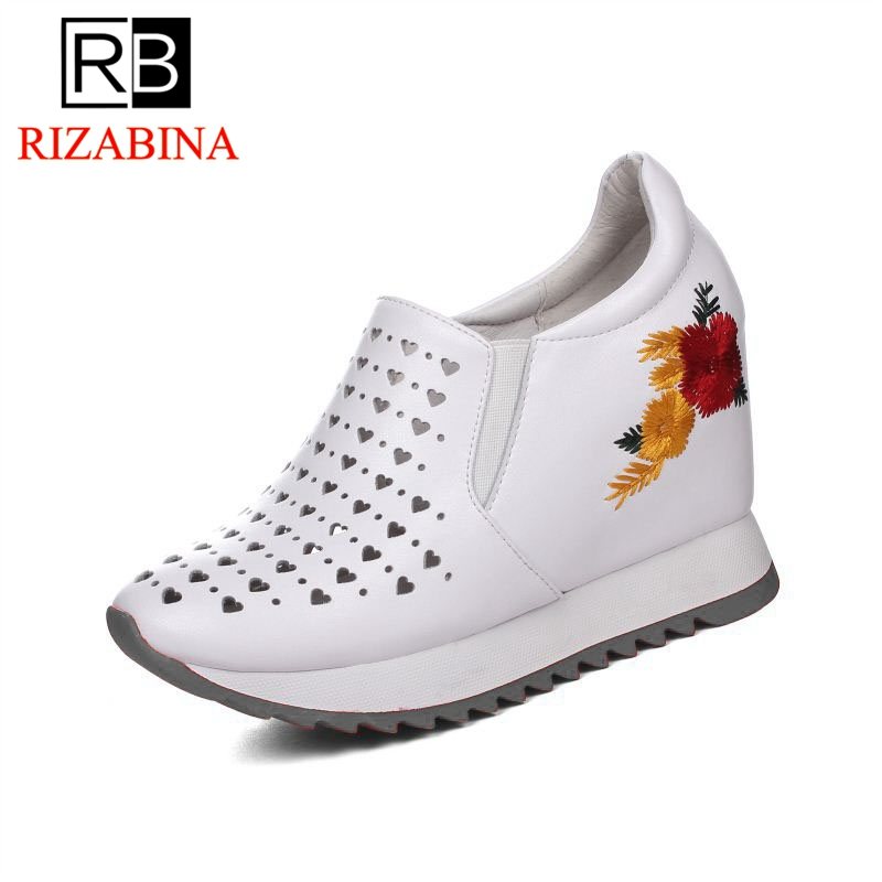 RizaBina Women High Heel Pumps Slip On Round Toe Hollow Out Real Leather Women Shoes Concise For Holiday Footwear Size 32-40 rizabina concise women sneakers lady white shoes female butterfly cross strap flats shoes embroidery women footwear size 36 40