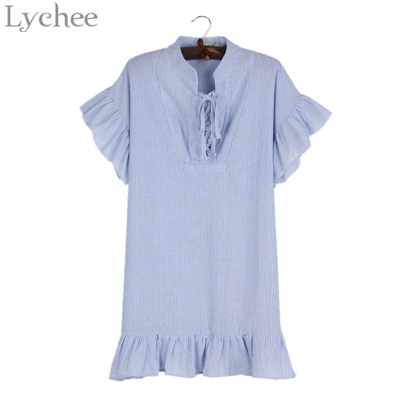 Lychee Fashion Lychee Preppy Style Summer Women Dress Stripe Lace Up Butterfly Sleeve Casual Loose Oversize Dress