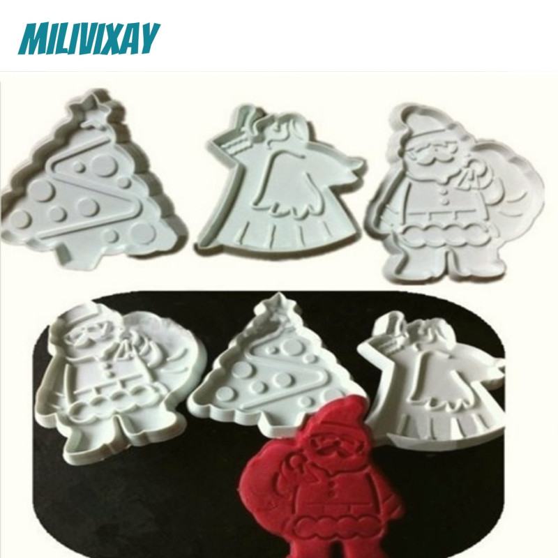 Us 3 37 Aliexpress Com Buy 3pcs Christmas Tree Santa Cookie Cutter Decorating Stamps Plastic Baking Accessories For Kids Funny Desserts Fondant