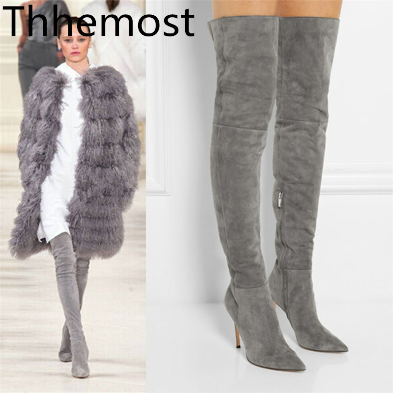 THEMOST In 2018 The New Fashion Pointed Spring Autumn Winter Boots Classic Ladies' Botas Mujer Thigh High Heel Femininas Long женские блузки и рубашки hi holiday roupas femininas blusa blusas femininas