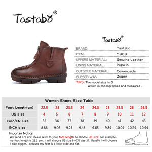 Image 3 - Tastabo Genuine Leather Ankle Boots Velvet Handmade Lady soft Flat shoes comfortable Casual Moccasins Womens shoes