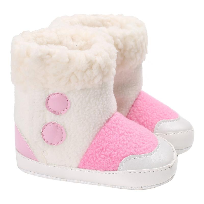 Baby Winter Shoes Infant Toddler Splicing Color Soft Bottom Fleece Warm Prewalkers Shoes for Baby Girls Snow Boots Sneakers