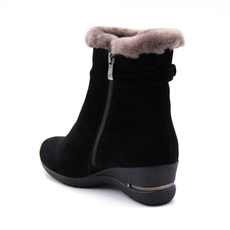2018 invierno nuevas botas de piel de lana caliente botas de tobillo de lana genuina de cuero de grano largo de felpa botas de nieve mujeres zapatos de cuñas de alta calidad