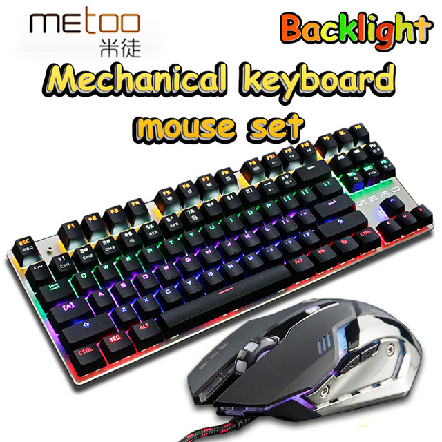 Mechanical Keyboard+Mouse combo set 3200DPI gaming light Russia stickers 3