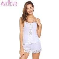 Avidlove Women Sexy Pajama Sets V Camisole Satin Pajamas Shorts Set Sleepwear Pajamas New Spaghetti Strap