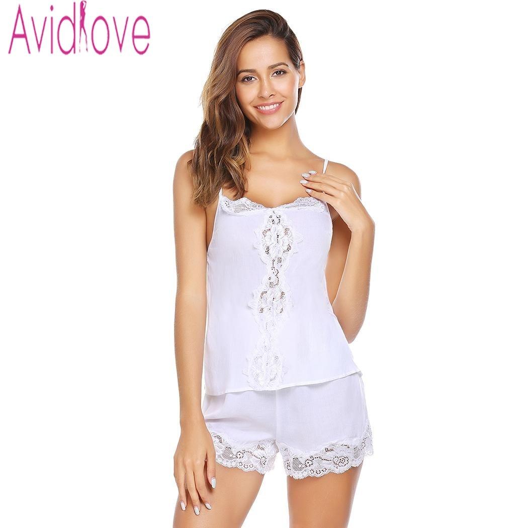 Detail Feedback Questions about Avidlove Women Sexy Pajama Sets V Camisole  Satin Pajamas Shorts Set Sleepwear Pajamas New Spaghetti Strap Lace Pajamas  on ... c5eb5c766