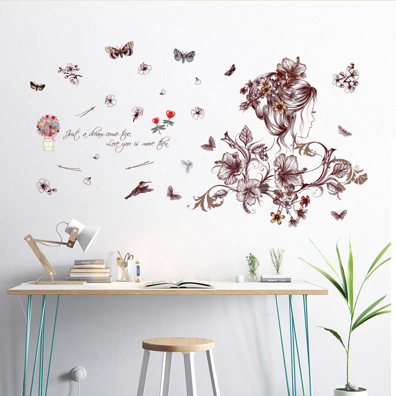 Creative hand-painted beautiful girl flower hummingbird applique home living room bedroom gardening avatar wall sticker decor