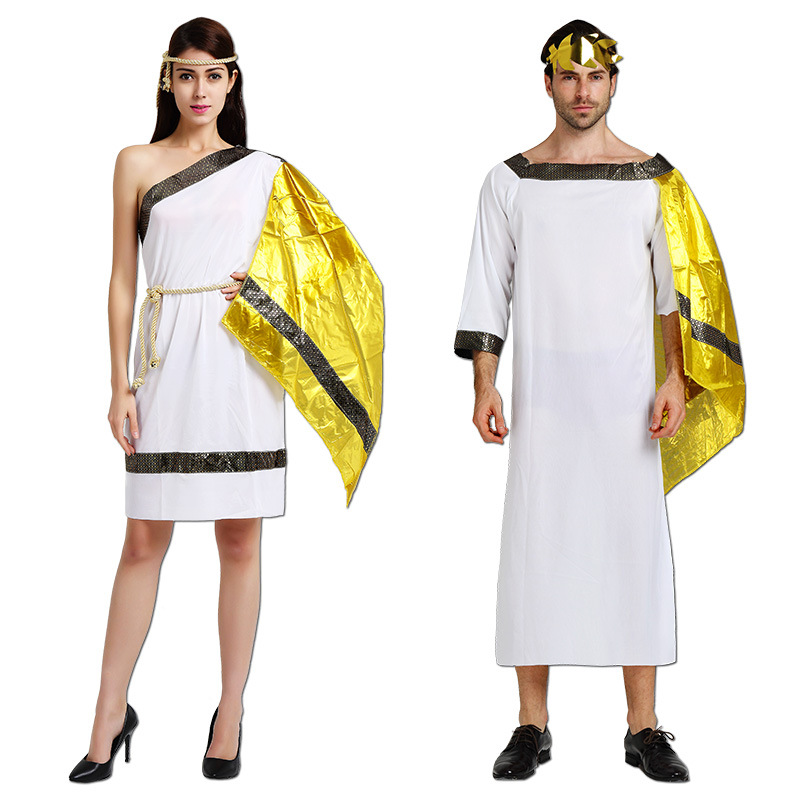 Women Men Ancient Greece Roman Angle Costume Adults Lovers Greek Egypt Cosplay Carnival Halloween Party Purim Role Play Clothes
