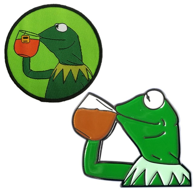 Kermit The Frog Sipping Tea Embroidered And Pin Set In Pins