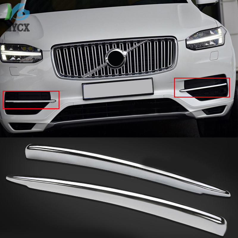 For <font><b>Volvo</b></font> XC90 <font><b>XC</b></font> <font><b>90</b></font> 2015 2016 <font><b>2017</b></font> 2018 ABS Chrome Front Fog Light Decoration Strips Cover Trim 2pcs Car Styling image