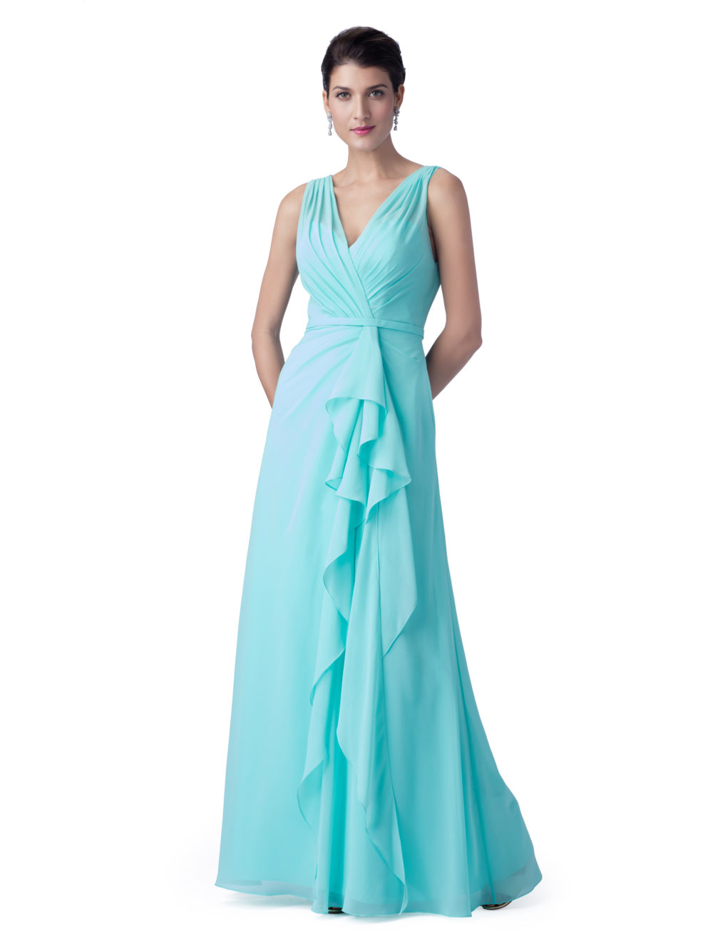 Ice Blue Long Chiffon Bridesmaid Dresses 2019 V Neck Tank Straps pleats A-line Floor Length Elegant Women Summer Formal Dress
