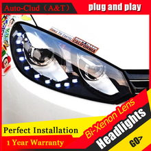 Auto Clud For vw golf 6 headlights 2009-2013 bi xenon lens For vw GOLF MK6 head lamps H7 parking LED tear light DRL car styling