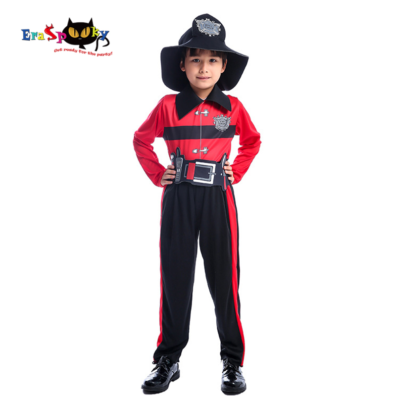 Eraspooky 2019 Brave Fireman Cosplay Boys Halloween costume for Kids Firefighter Uniform Children Carnival Party Game Outfit Hat
