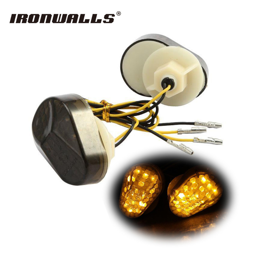 Ironwalls Motorcycle LED Turn Signal Indicator Light Smoke Blinkers 12v Flush Mount for Kawasaki ZX636 ZX12R ZX6R ZX7R ZZR600