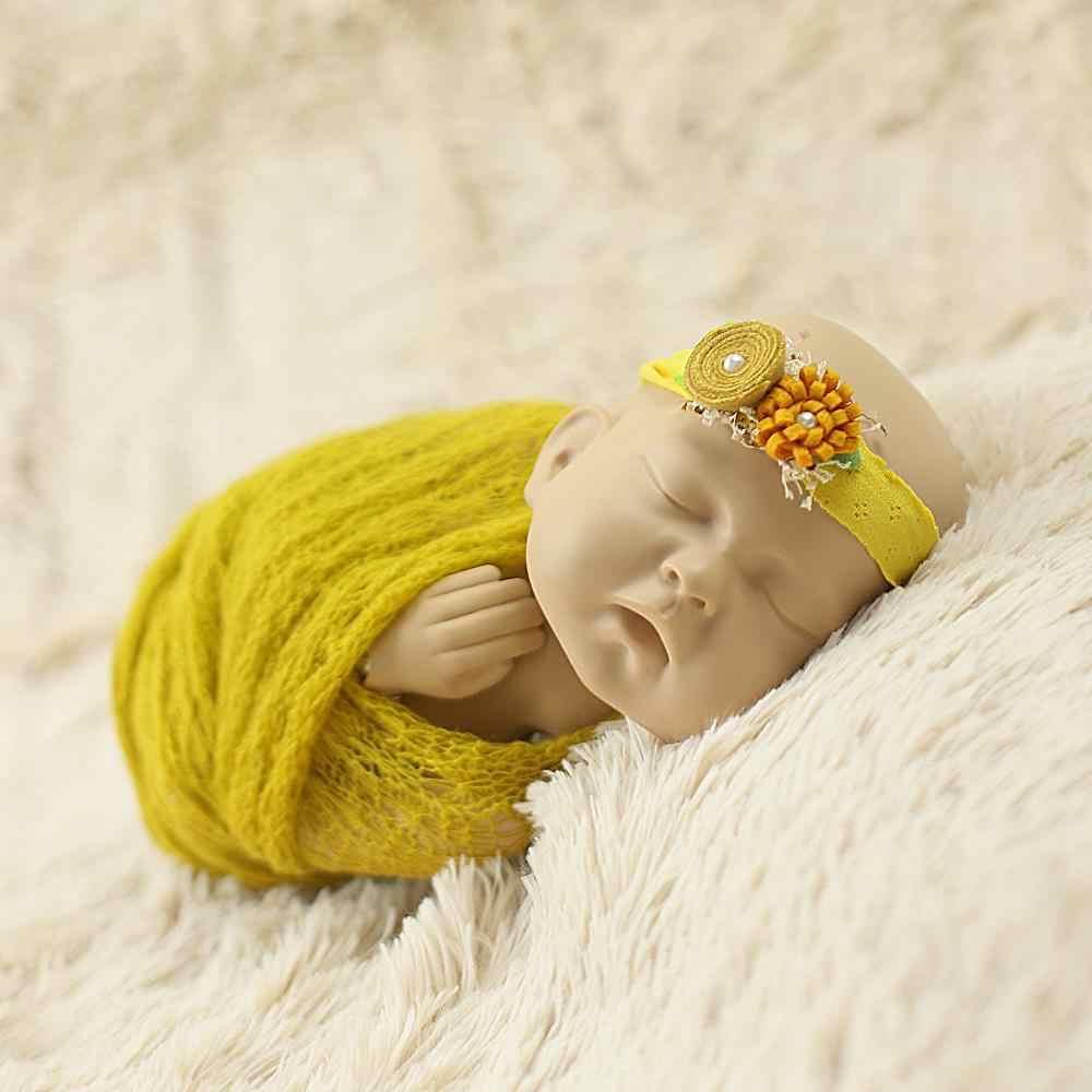 40x150 см мохер вязать Фото эластичный Обёрточная бумага + повязка на голову комплект реквизит для фотографии новорожденных ткань для младенческой аксессуары Детские hairbands