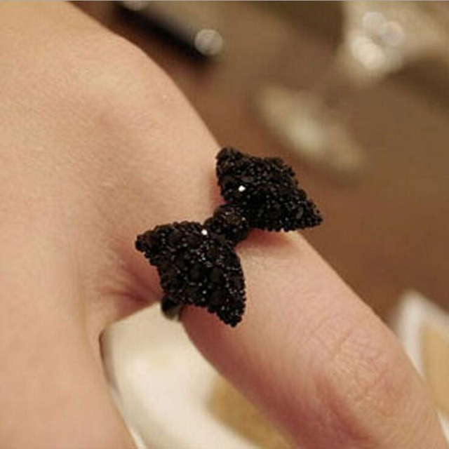 KISSWIFE Fashion Vintage Cute Black Rhinestone Butterfly Bow Rings Jewelry Hot S