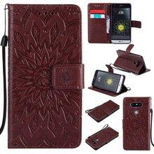 Коричневый солнце цветочным узором PU кожаный бумажник Стенд Флип Чехол линии для LG G5 случае
