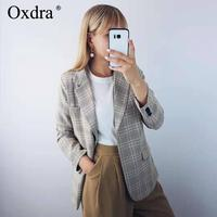 Oxdra 2019 Spring Autumn Casual Stylish Blazer Notched Single Button Long Sleeve Outerwear Lady Blazers Women Clothing