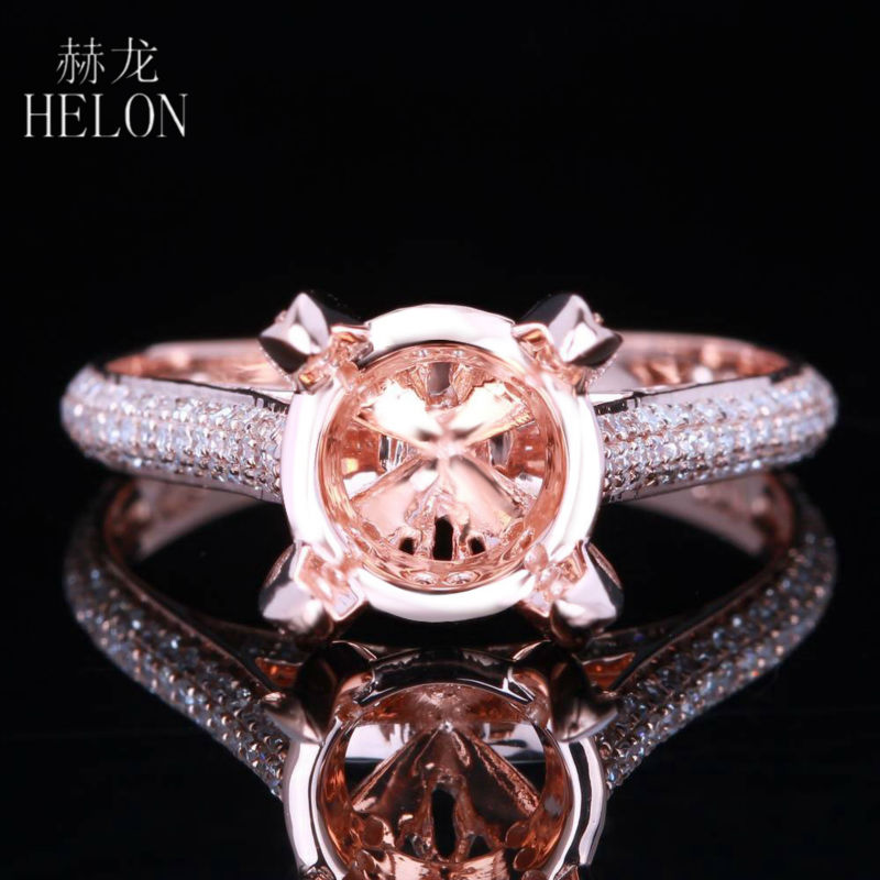 HELON Solid 10K Rose Gold Certified Round 0.4ct Natural Diamonds Semi Mount Ring Setting WomenEngagement Wedding Trendy JewelryHELON Solid 10K Rose Gold Certified Round 0.4ct Natural Diamonds Semi Mount Ring Setting WomenEngagement Wedding Trendy Jewelry