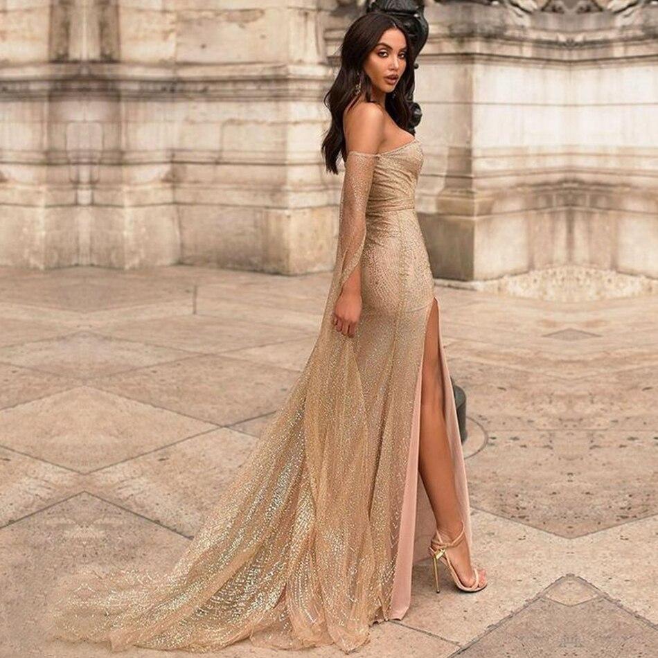 Robe Sexy de célébrité robe de soirée paillettes d'or robe longue dos nu femmes robes sans bretelles à fente haute Club Maxi Vestidos - 3