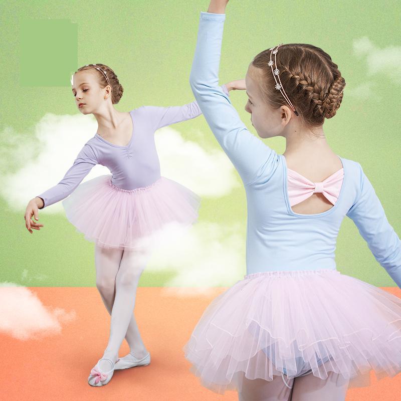 2019 Spring New Ballet Dress Tutu Cute Girls Princess Pink Long Sleeve Party Dance Ballet Dresses Costumes Dance Leotard Wear