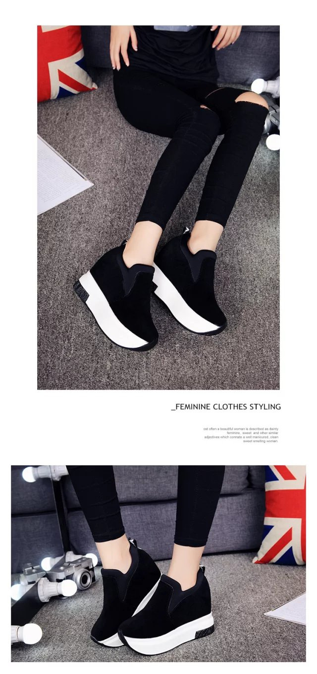 XEK 2018 Women Increased Shoes Women Fashion Platform Loafers Printed Casual Shoes Woman Wedges Shoes Breathable ZLL300 9