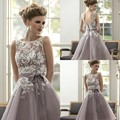 2017 Purple Scoop Sleeveless Custom Made A-Line Ankle-Length Lace Long Maid Of Honor Bridesmaid Dresses