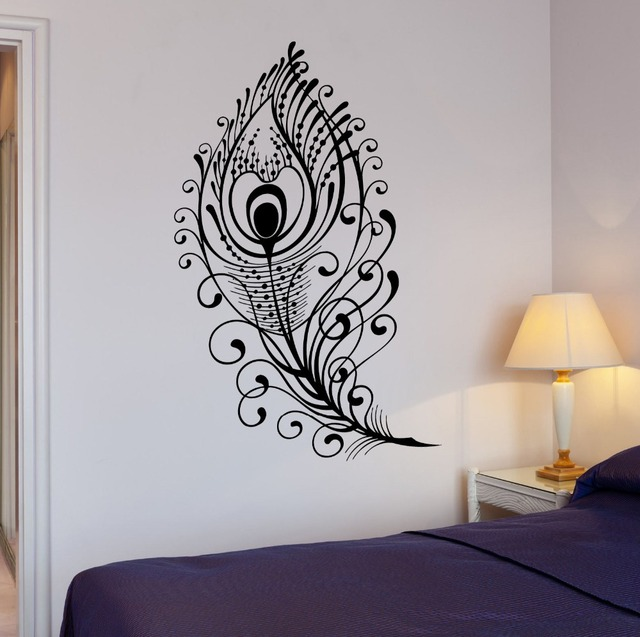 Vinyle Belle Paon Art Sticker Mural Design Plume Oiseau Accueil