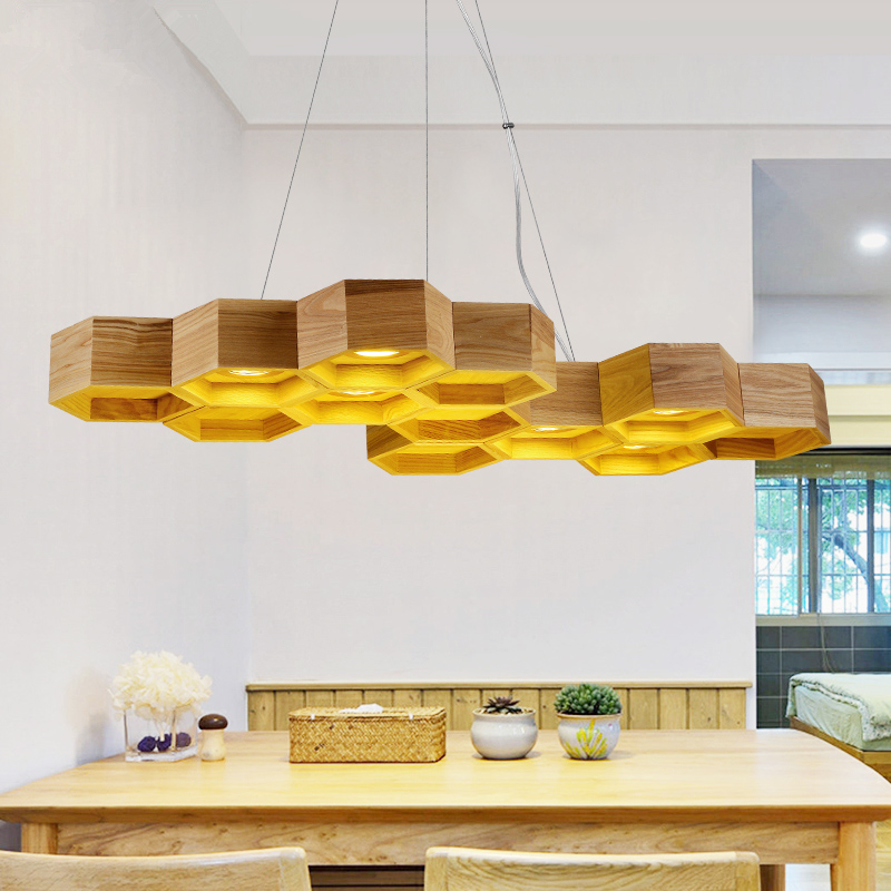 Artistic creative personality restaurant lights bar hanging lights simple honeycomb solid wood Pendant lamps chandelier japanese style solid wood bar simple led nordic pendant lights a1 log restaurant lights creative personality round wood za