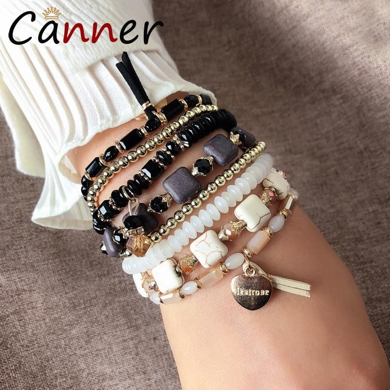 CANNER Bohemian Crystal Bracelet Beads/Beaded Layered Bracelets for Women Boho Charm femme pulseras mujer FI