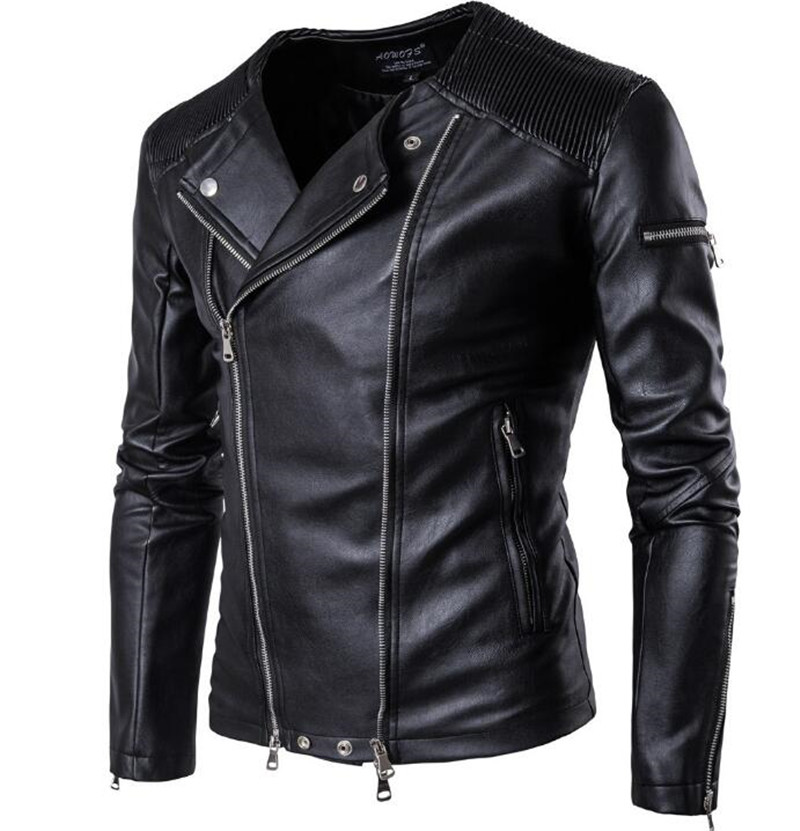 New Motorcycle Jackets Men PU Leather Vintage Retro Jackets Classic Biker Slim Zippers Men Moto Jacket Coats Leather Punk Jacket free shipping new vintage brand clothing mens cow leather jackets men genuine leather biker jacket motorcycle homme fitness